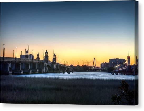Sunrise On The Ashley River Canvas Print by Walt  Baker