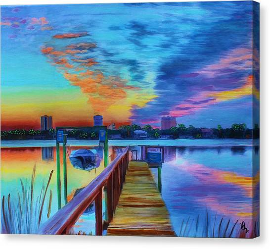 Sunrise On The Dock Canvas Print