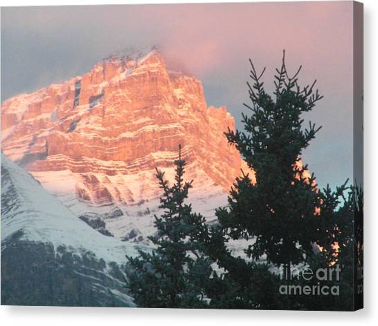 Canvas Print featuring the photograph Sunrise On The Mountain by Ann E Robson