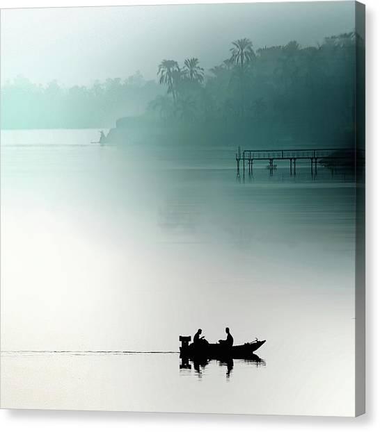 Egyptian Canvas Print - Sunrise On The Nile by Piet Flour