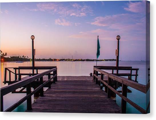 Ocean Sunrises Canvas Print - Sunrise On The Pier by Tony Delsignore