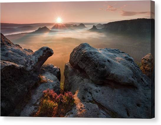 Switzerland Canvas Print - Sunrise On The Rocks by Daniel ?e?icha