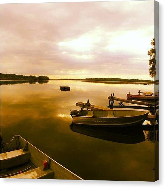 Bass Fishing Canvas Print - Sunrise Over A Lake Somewhere In by Emily Murray