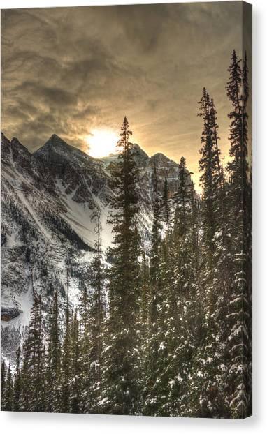 Sunrise Over A Mountain Ridge Canvas Print