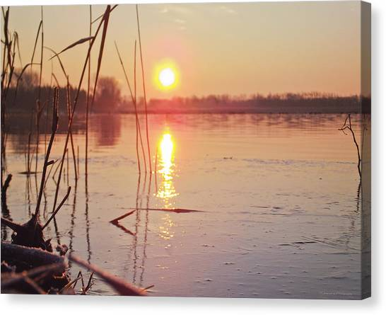 Sunrise Over Frozen Water Canvas Print