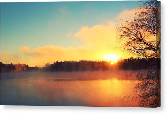 South Carolina Canvas Print - Sunrise Over Lake Hartwell by Adam Powell