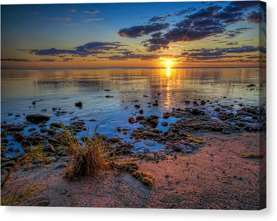 Lake Michigan Canvas Print - Sunrise Over Lake Michigan by Scott Norris