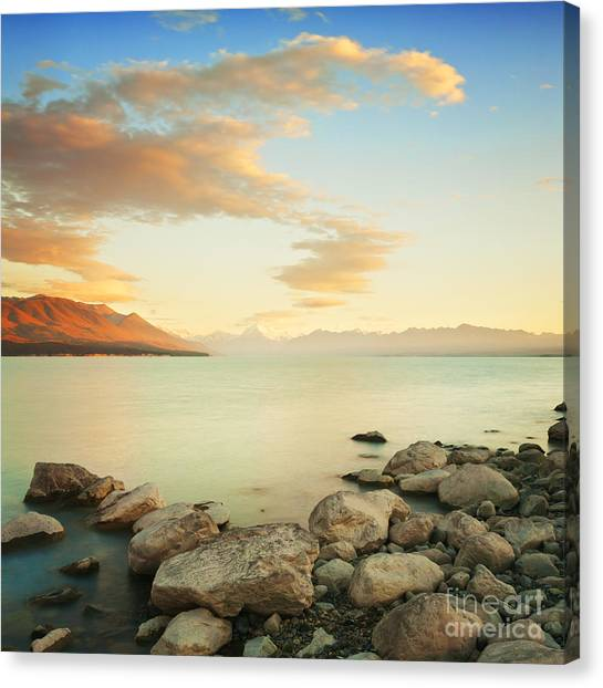 Lake Sunrises Canvas Print - Sunrise Over Lake Pukaki New Zealand by Colin and Linda McKie