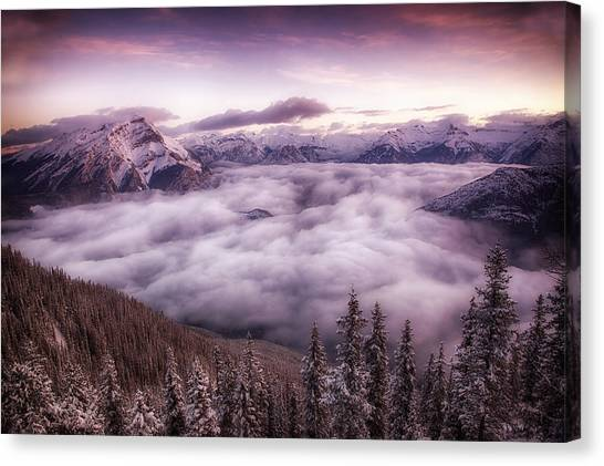 Sunrise Over The Canadian Rockies Canvas Print