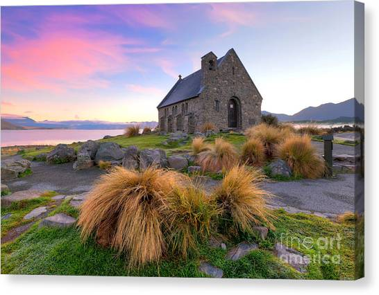 Sunrise Over The Church Of The Good Sheperd Canvas Print