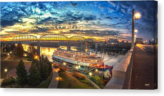 Sunrise Over The Delta Queen Canvas Print