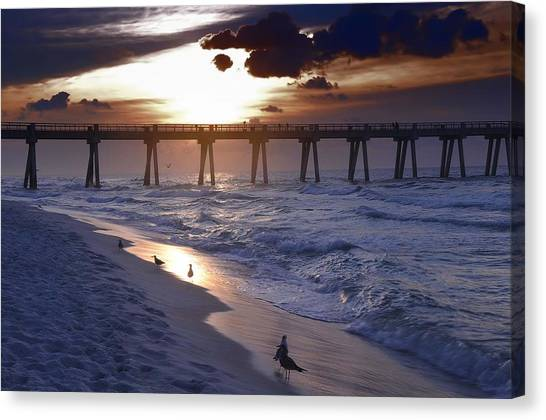 Sunrise Over The Pier Canvas Print
