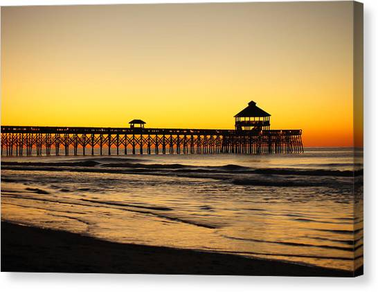 Sunrise Pier Folly Beach Sc Canvas Print