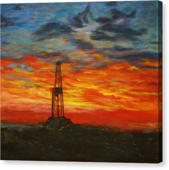 Oil Rigs Canvas Print - Sunrise Rig by Karen  Peterson