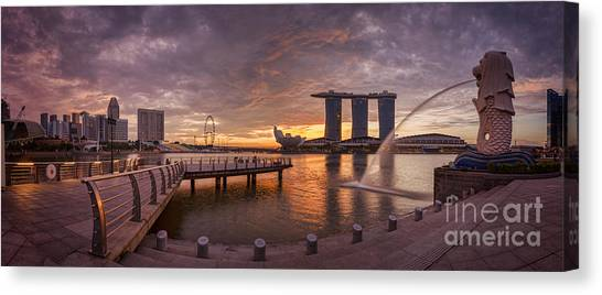 Singapore Skyline Canvas Print - Sunrise Singapore by Colin and Linda McKie