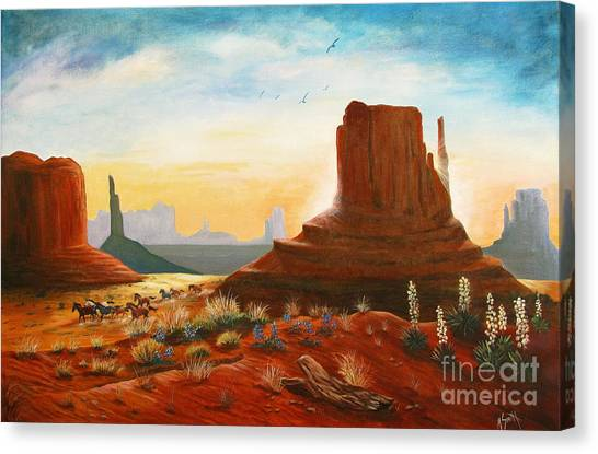 Sunrise Stampede Canvas Print