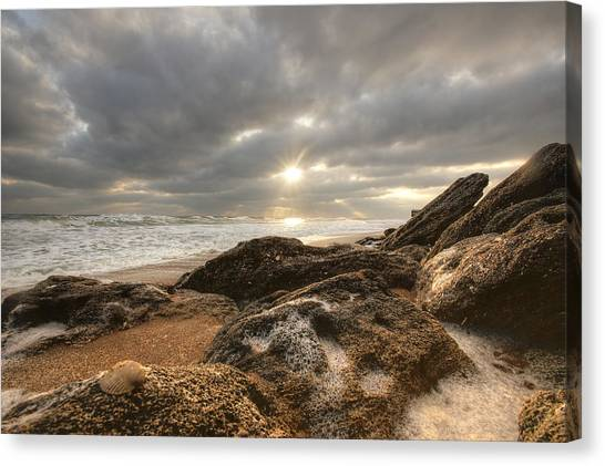 Sunrise Surf On The Rocks Canvas Print by Danny Mongosa