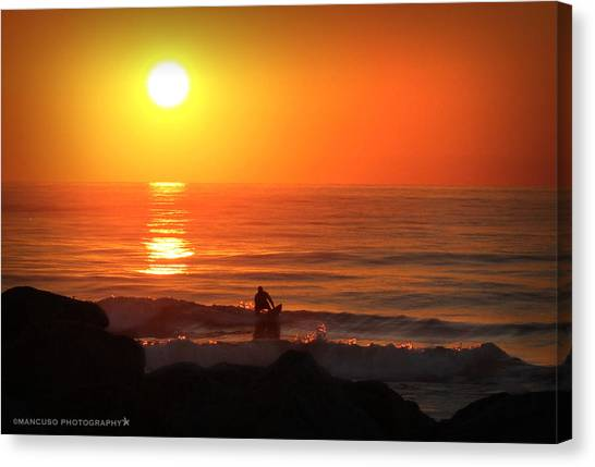 Sunrise Surfer Canvas Print