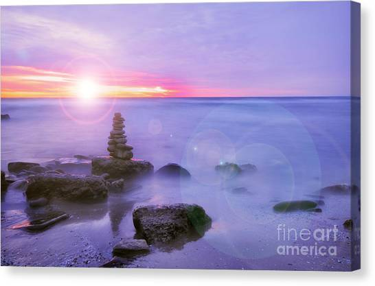 Sunrise Horizon Canvas Print - Sunrise Through Clouds by Charline Xia