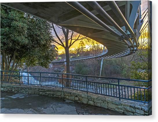 Sunrise Under Liberty Bridge At Falls Park Greenville Sc Canvas Print