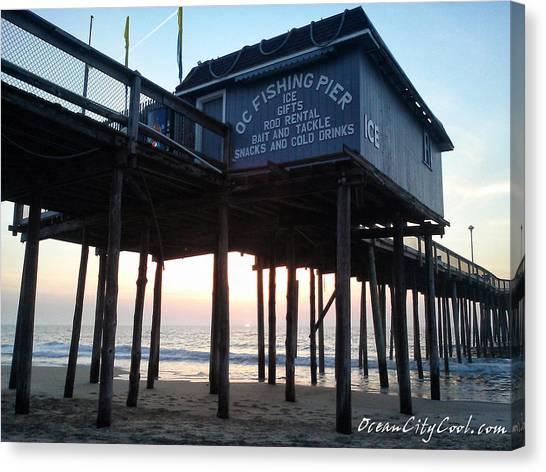 Sunrise Under The Oc Fishing Pier Canvas Print
