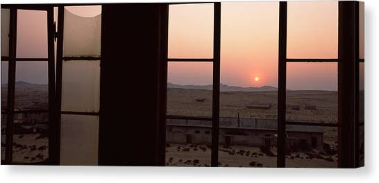 Namib Desert Canvas Print - Sunrise Viewed Through A Window by Panoramic Images