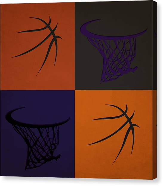Phoenix Suns Canvas Print - Suns Ball And Hoop by Joe Hamilton