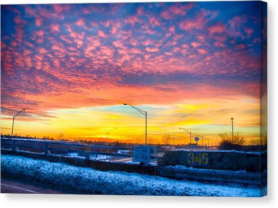 Sunset 1-3-14 Northern Illinois 001 Canvas Print by Michael  Bennett
