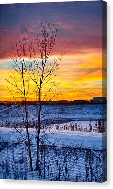Sunset 1-3-14 Northern Illinois 002  Canvas Print by Michael  Bennett
