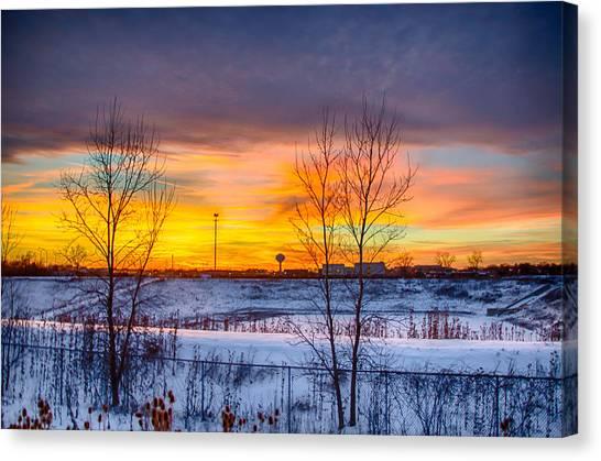 Sunset 1-3-14 Northern Illinois 003 Canvas Print by Michael  Bennett