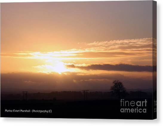 Sunset Across The Wolds Canvas Print by Merice Ewart