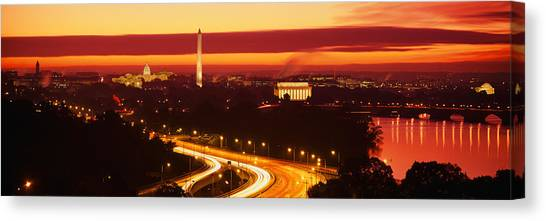 Washington Monument Canvas Print - Sunset, Aerial, Washington Dc, District by Panoramic Images