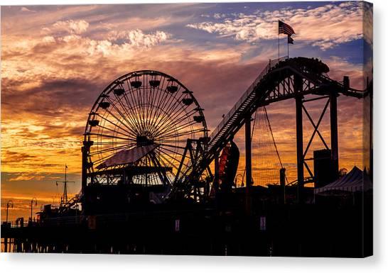 Sunset Amusement Park Farris Wheel On The Pier Fine Art Photography Print Canvas Print