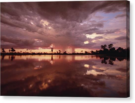Okavango Swamp Canvas Print - Sunset And Clouds Over Waterhole by Gerry Ellis