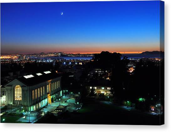Sunset And Crescent Moon Over Campus Canvas Print