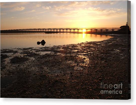 Sunset And Wooden Bridge In Ludo Canvas Print