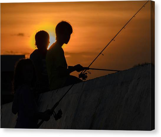 Sunset Anglers Canvas Print