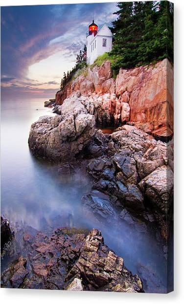 Cliffs Canvas Print - Sunset At Bass Harbor Lighthouse by Mircea Costina