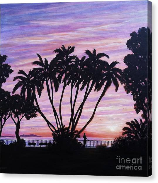 Sunset At C Street Ventura Canvas Print by Tina Obrien