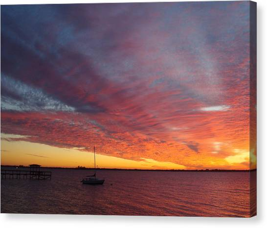 Sunset At Cafe Coconut Cove 6 Canvas Print
