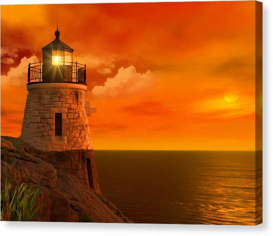 Under The Moon Canvas Print - Sunset At Castle Hill by Lourry Legarde