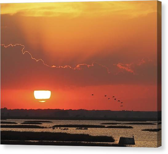 Sunset At Cheyenne Bottoms Canvas Print