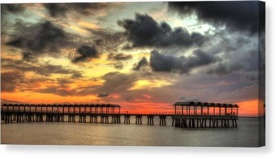 Sunset At Clam Creek Fishing Pier Canvas Print