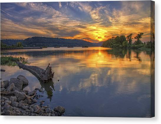Sunset At Cook's Landing - Arkansas River Canvas Print
