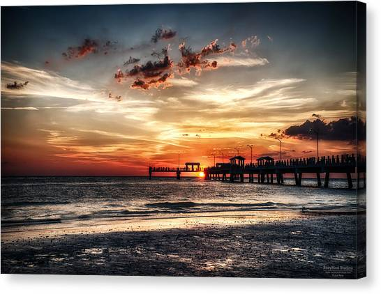 Sunset At Ft Desoto Canvas Print