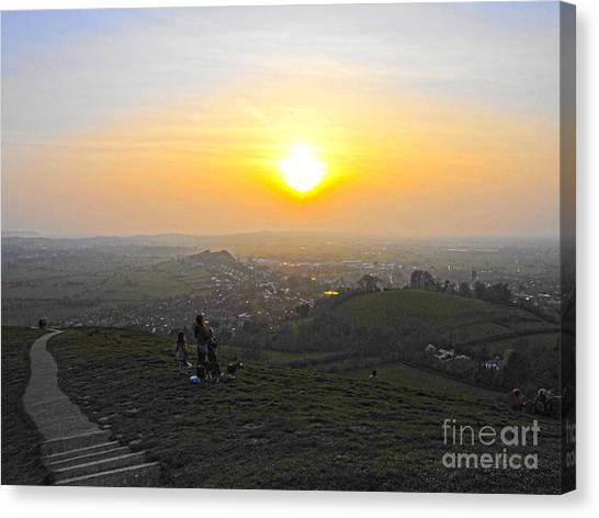 Sunset At Glastonbury Tor Canvas Print