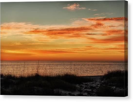 Southwest Florida Sunset Canvas Print - Sunset At Golden Beach by Frank J Benz
