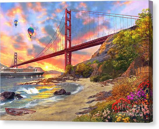 Sunset At Golden Gate Canvas Print
