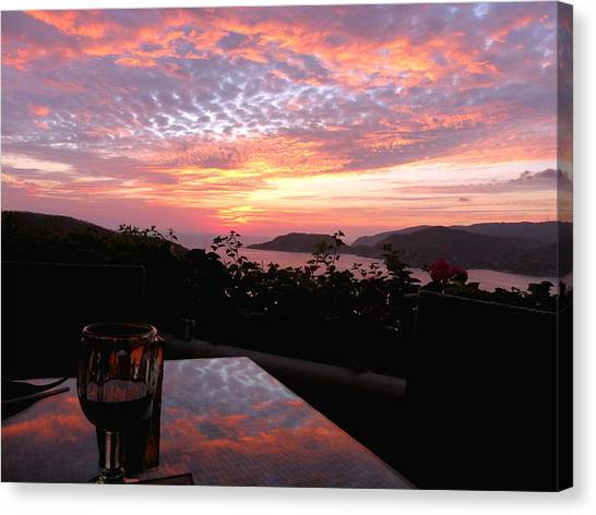Sunset Over Zihuatanejo Bay Canvas Print