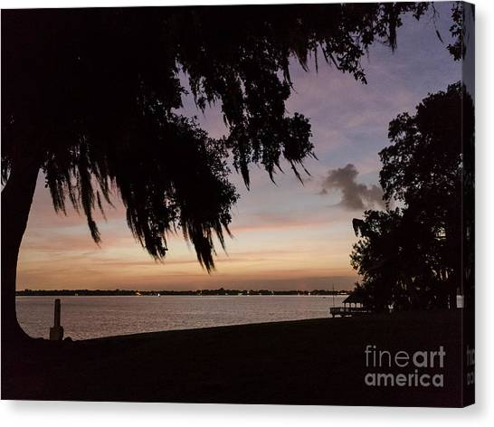 Sunset At Jefferson Island Canvas Print by Kelly Morvant